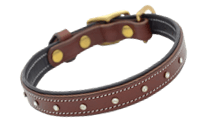 Leather Collar STAR in Brown Size XS