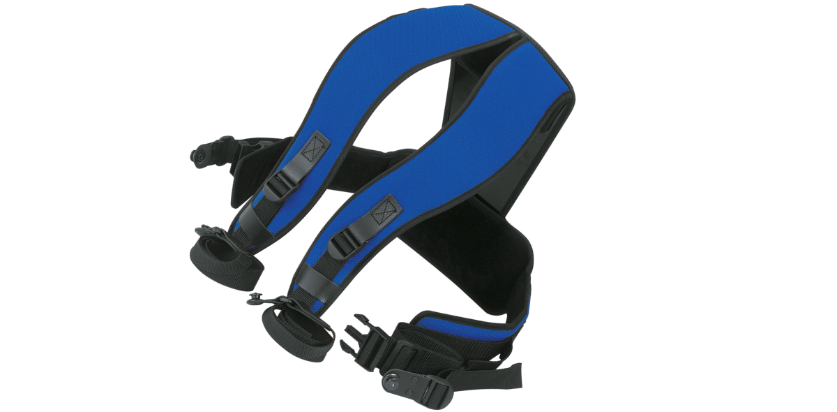 Carrying harness in blue with Tenax buttons